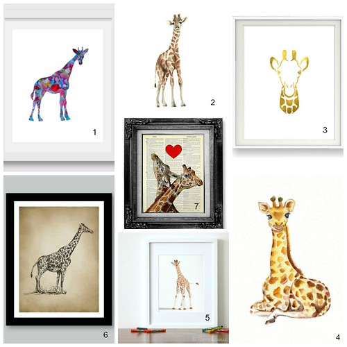 Giraffe Nursery Prints Collage