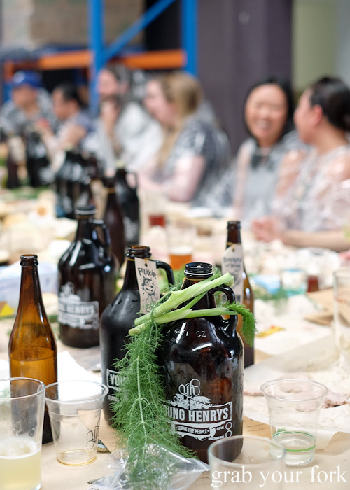 Wild fennel, growlers and plastic beer cups at the Feral Party by Pinbone at Young Henrys for Good Food Month 2015