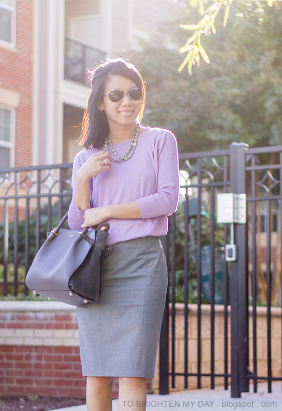 gray silk wrapped necklace, lilac sweater, gray pencil skirt