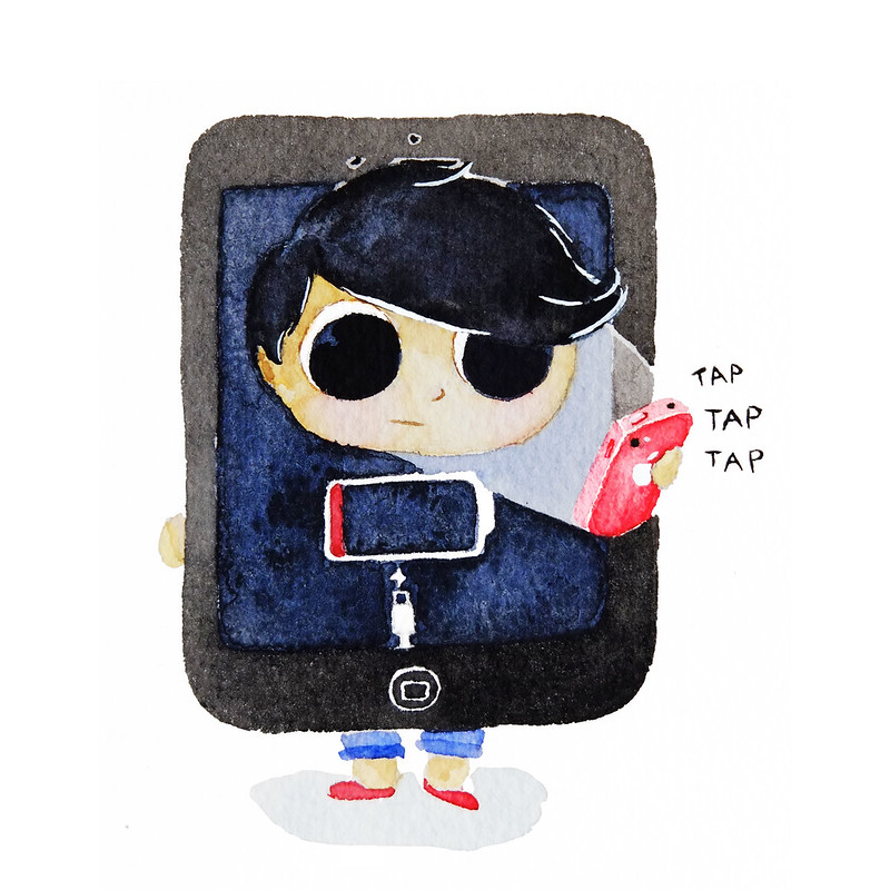 Watercolor Illustration of Halloween Costume with Low Battery