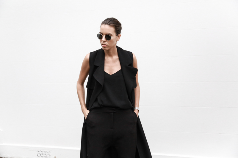 all black street style, minimal, sleeveless coat, trench, Proenza Schouler PS11 Mini, Ray Ban round sunglasses gold, drop crotch pant, fashion blog, modern legacy (1 of 1)
