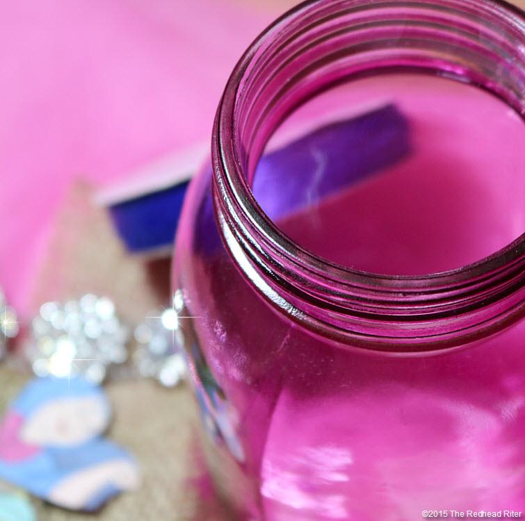 redhead riter pink mason jar