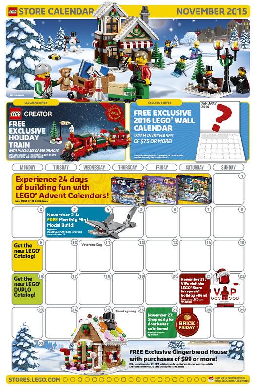 LEGO Shop November 2015 Calendar