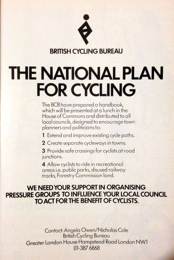 National Plan For Cycling, British Cycling Bureau, mid-1970s