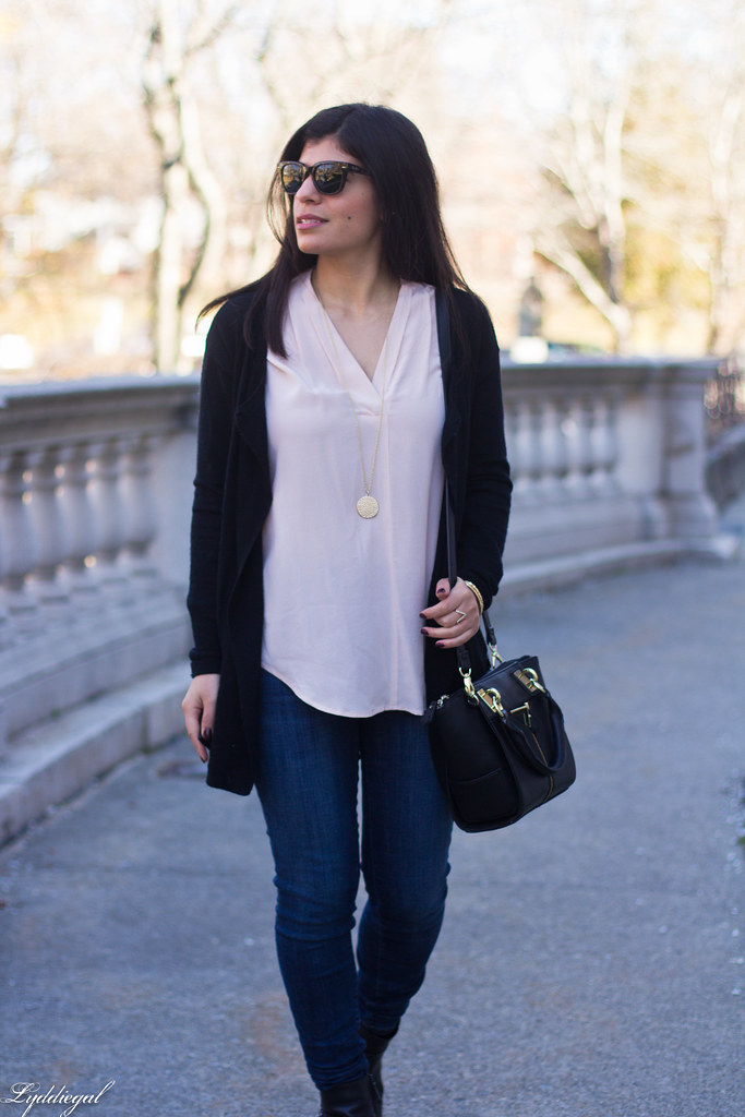 pink silk blouse, jeans, black cardigan, booties-3.jpg