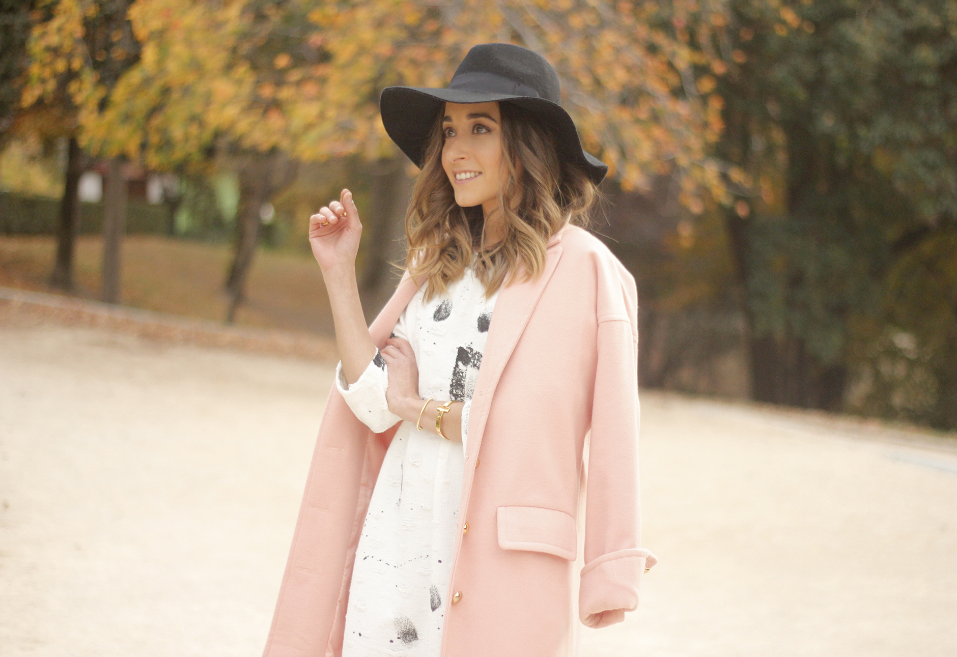 Black and White Dress Pink Coat Black Hat outfit style over the knees boots26
