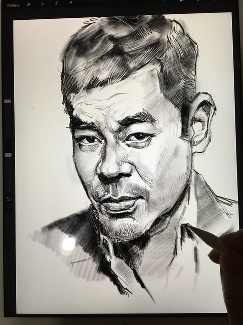 Had a hard time fixing the likeness....😅 iPad Pro + Apple Pencil + Procreate.  Sean Lau 劉青雲 digital portrait sketch