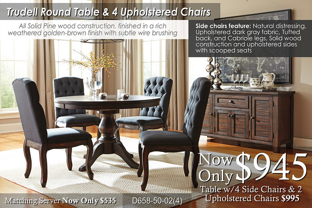 Trudell Dining Round Table and Upholstered Chairs