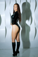 Marusya Klimova in black catsuit and black high heels boots