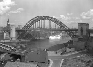 Tyne Bridge and Newcastle Quayside, 1950