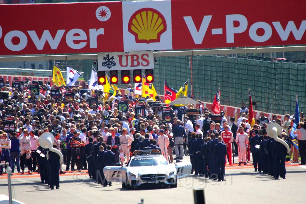 Forming the grid for the 2015 Belgium Grand Prix