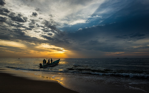 sea seascape sunrise landscape dawn fishing pondichery