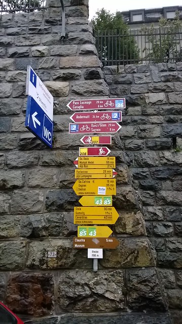 Disentus town signpost switzerland