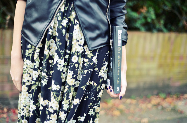 Leather Jacket and Floral Dress