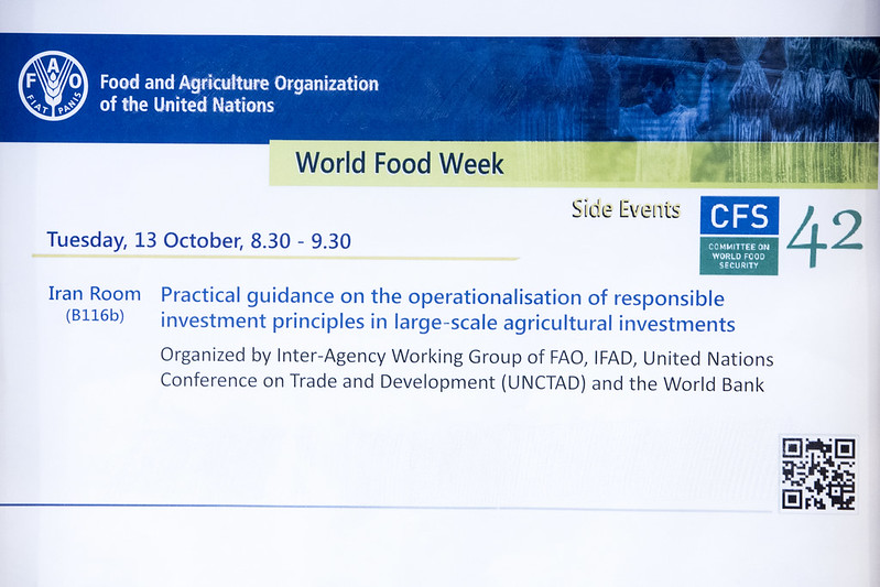 63 - CFS 42 Side event, DAY 2: Practical guidance on the  operationalisation of responsible  investment principles in large-scale  agricultural investments