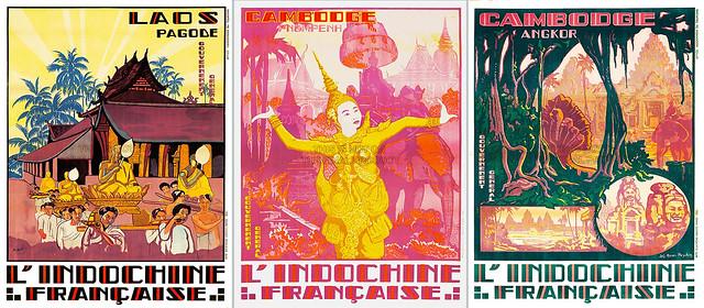 Poster quảng bá du lịch Đông Dương - Xứ Lào và Cam Bốt