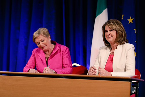 Minister Frances Fitzgerald and Tánaiste Joan Burton sign commencement order for Marriage Act 2015 and related legislation