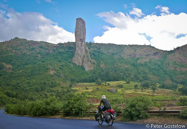 Cyclist and an amazing phallic rock.