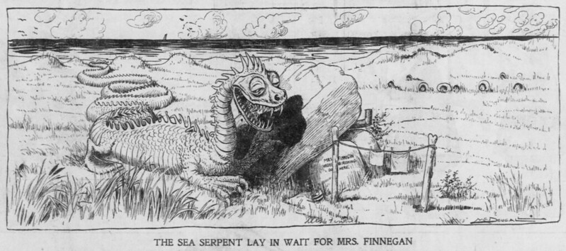 Walt McDougall - The Salt Lake herald., June 22, 1902, The Sea Serpent Lay In Wait For Mrs. Finnegan