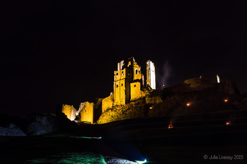 Corfe Castle illuminated