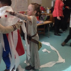 Rey was wrapping a #mummy #superman. #toiletpapermummy #halloweenfun #halloween #starwars #rey