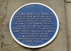 Photo of James Harrison and St. Michael's Church, Chester blue plaque