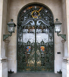 The gated entrance of the Royal Exchange, London