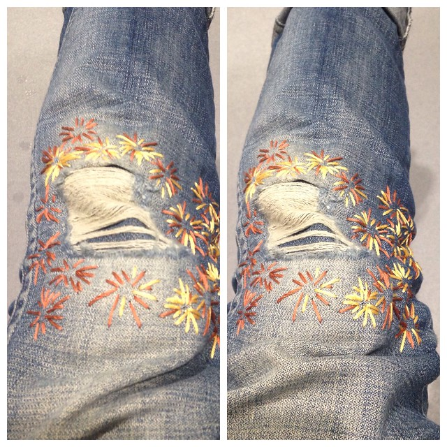Sashiko stitch jeans repair. Begun and completed 28/11