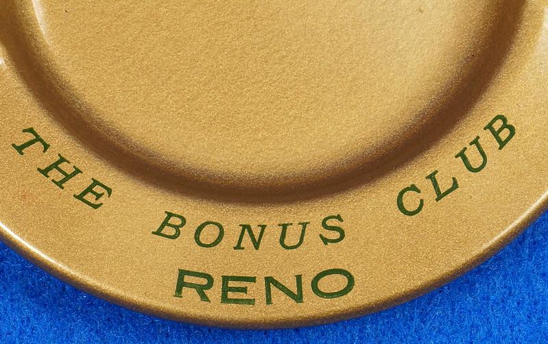 RD15055 Vintage Ashtray NEVADA CLUB - THE BONUS CLUB - RENO Copper Tone Metal Art Deco DSC06819