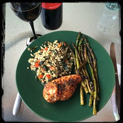 #Homemade #Callaloo #SeasonedRice #CucinaDelloZio - #BBQ chicken and #asparagus
