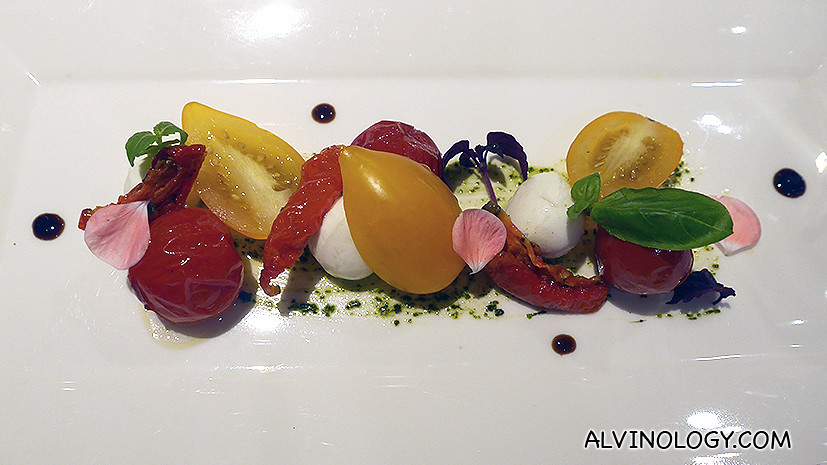 Trio of Tomatoes (V) (S$18) - Cherry Tomato Confit, Semi-dried Tomato, Fresh Yellow Cherry Tomato with Bocconcini and Pesto