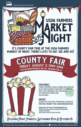 USDA Farmers Market at Night, County Fair Time poster