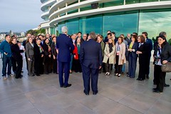 U.S. Secretary of State John Kerry addresses U.S. Embassy Santiago, Chile, staff members as he thanks them for thier work on Our Ocean Conference 2015 as U.S. Ambassador to Chile Michael Hammer watches, at the Our Ocean 2015 Conference in Valparaíso, Chile, on October 5, 2015. [State Department photo/ Public Domain]