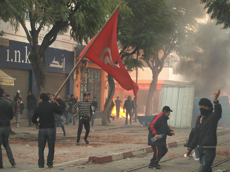 Barricades and fires during Tunisian Revolution