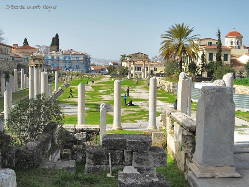 Vista panorámica del Ágora romana desde la entrada este