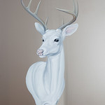 Mai Wyn Schantz; White Deer; Oil on stainless steel; 2013; 38x30 - Art of the State 2016 at the Arvada Center for the Arts and Humanities