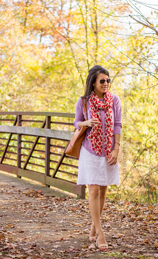 floral scarf, lilac sweater, white eyelet dress, rose gold jewelry, cognac brown tote, raffia heels