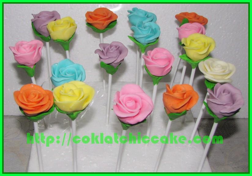 Cake pop bunga mawar
