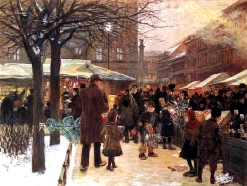 Christmas market in Berlin by Franz Skarbina, 1892