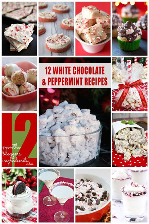 12 White Chocolate and Peppermint Recipes collage.