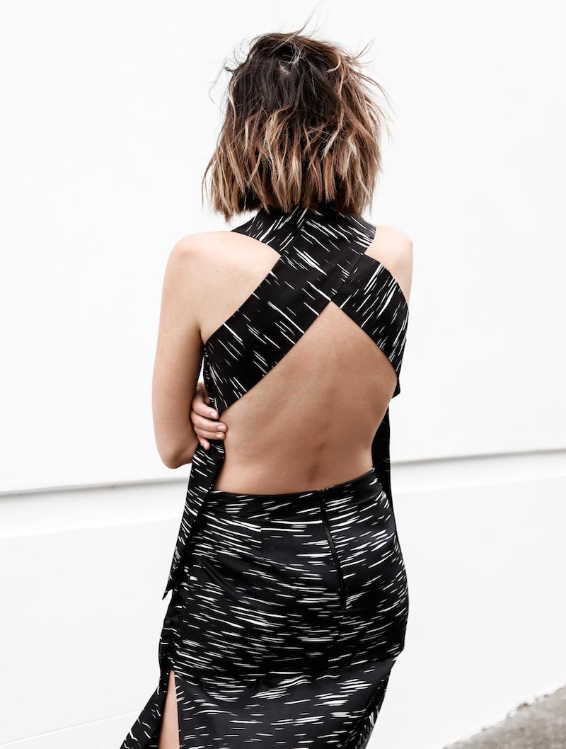 backless cross back modern digital print black white monochrome street style minimal fashion blog josh goot modern legacy