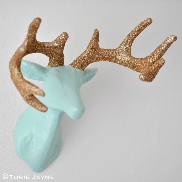 DIY Glittered antler stag head tutorial 5