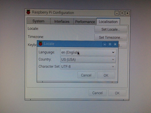 Raspberry PiのLocale設定画面