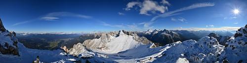 germany deutschland mittenwald bayern bavaria karwendel panorama panoramic snow blue sky outdoors mountans mountain range gebirgskette alpen alps sun sunrays ©allrightsreserved