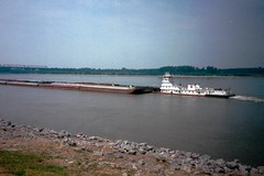 Boat Pushing a Barg on the Mississippi River, Memphis,Tennnessee