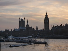River Thames from the South Bank in London - Westminster sunset - Houses of Parliament