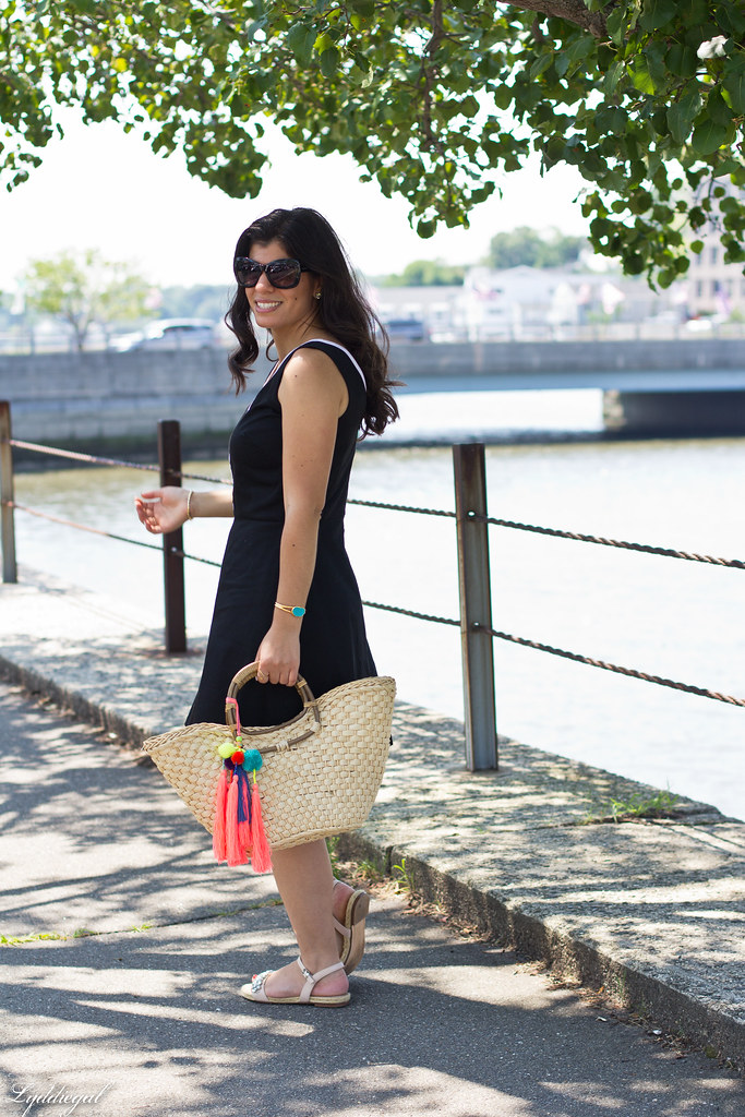 black and white dress, straw tote, jeweled sandals.jpg