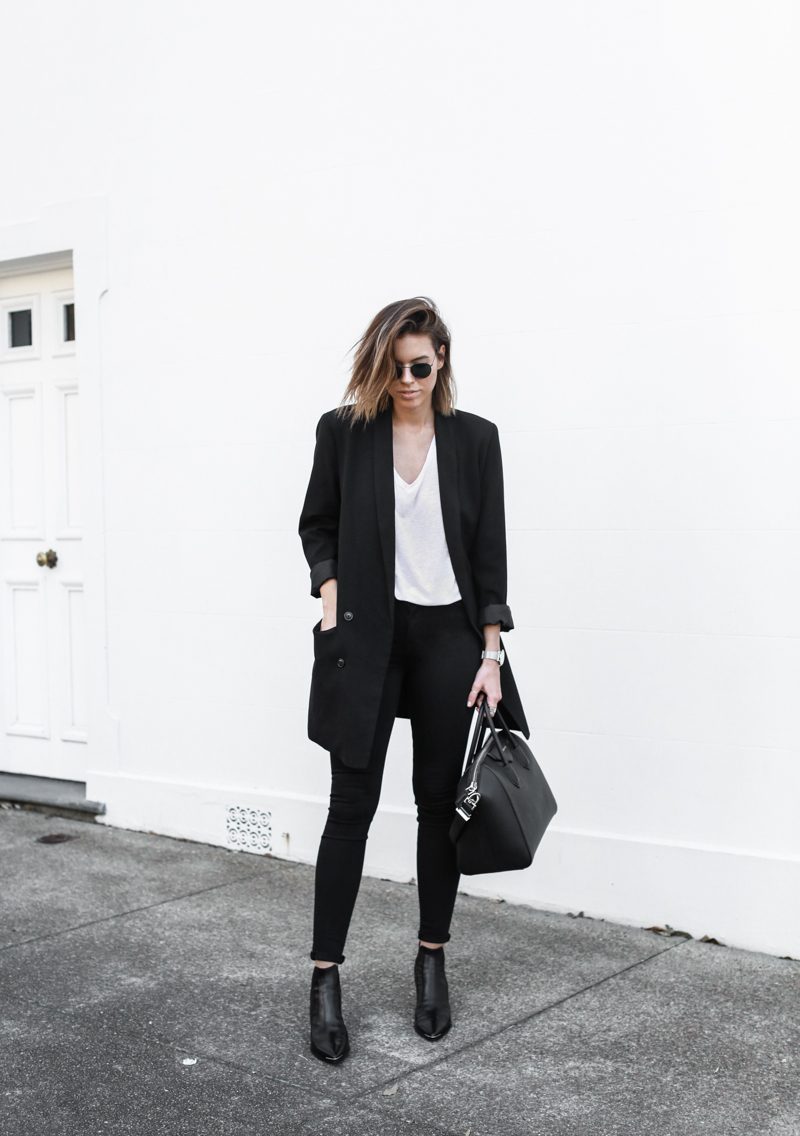 J BRAND black denim jeans, off duty, street style, classic white tee, oversized blazer, Acne Jensen boots, inspo, fashion blog, modern legacy (1 of 1)