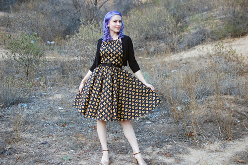 Pinup Girl Clothing Harley Dress in Black and Gold Fleur De Lis Print