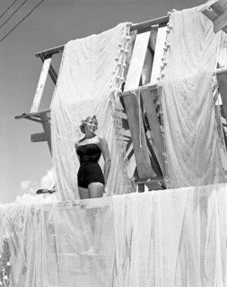 Helen Kiekhaefer near fishing nets  - Boca Grande